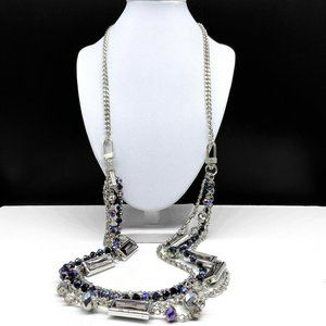 Cookie Lee Rhinestone Beaded Silver Chain Necklace